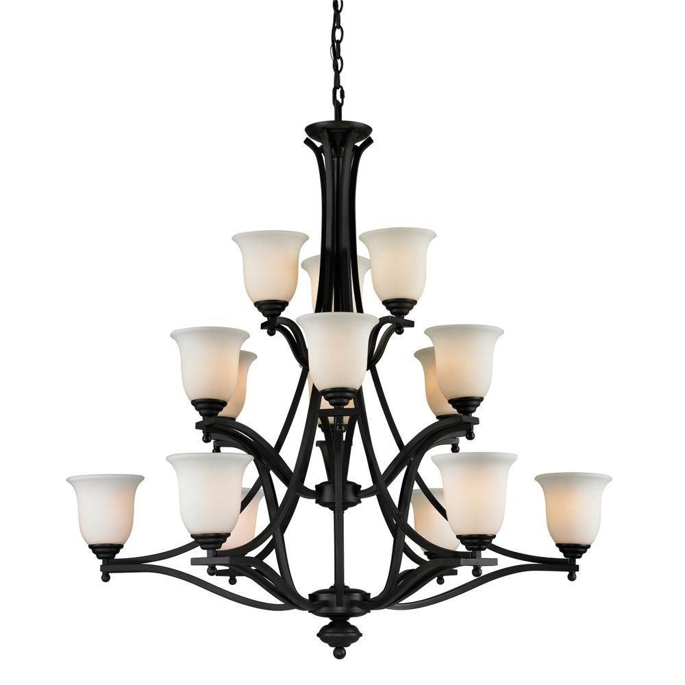 Lawrence 15-Light Matte Black Incandescent Ceiling Chandelier