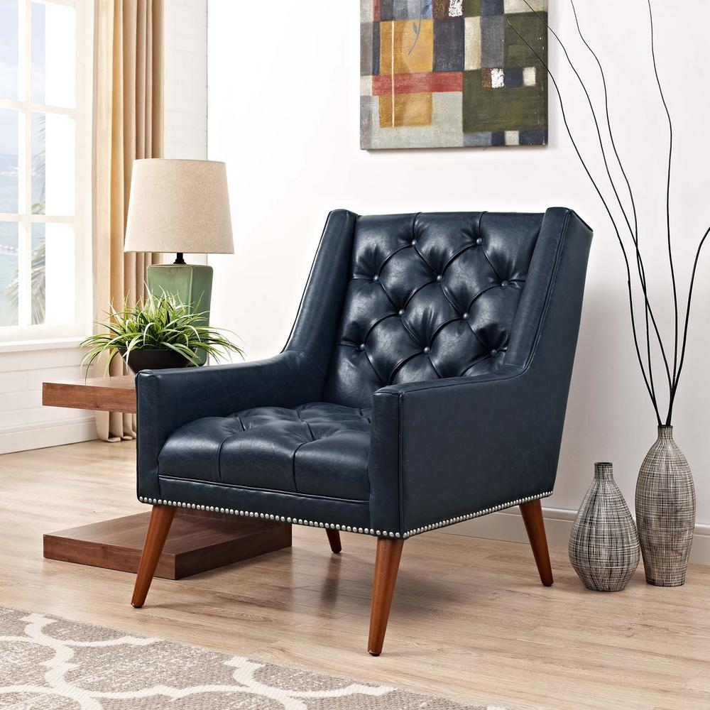 MODWAY Peruse Blue Faux Leather Armchair