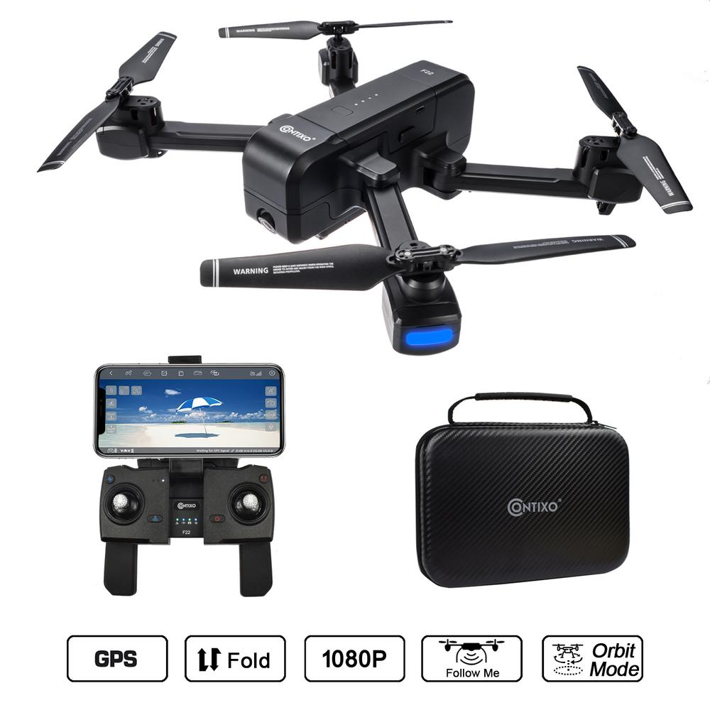 RC Drone with Camera Foldable Quadcopter Drone Gimbal 1080P HD Wide Angle Lens WiFi GPS Best Drone for Beginners