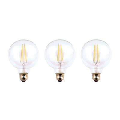 40-Watt Equivalent G25 Dimmable Clear Filament Vintage Style LED Light Bulb, Soft White (3-Pack)