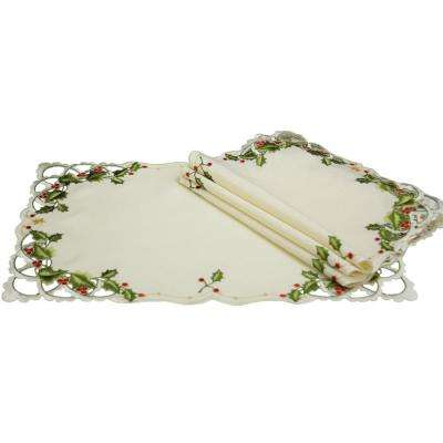 0.1 in. x 12 in. x 18 in. Winter Berry Collection Christmas Placemats (4-Set)