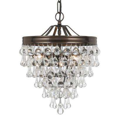Calypso 3-Light Crystal Teardrop Bronze Mini Chandelier