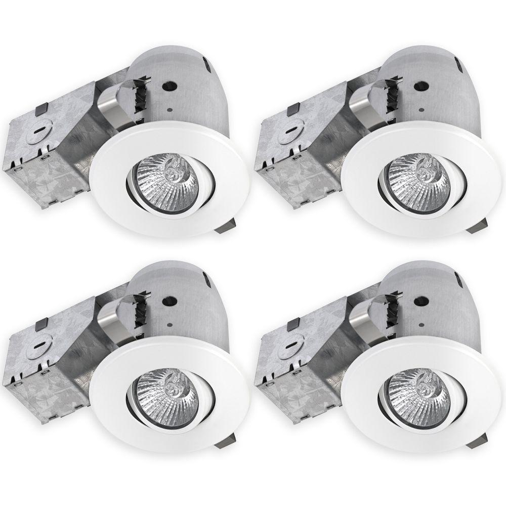 White Recessed Lighting Kit with Swivel and Spot-Light (  sc 1 st  Home Depot & Globe Electric 3 in. White Recessed Lighting Kit with Swivel and ...
