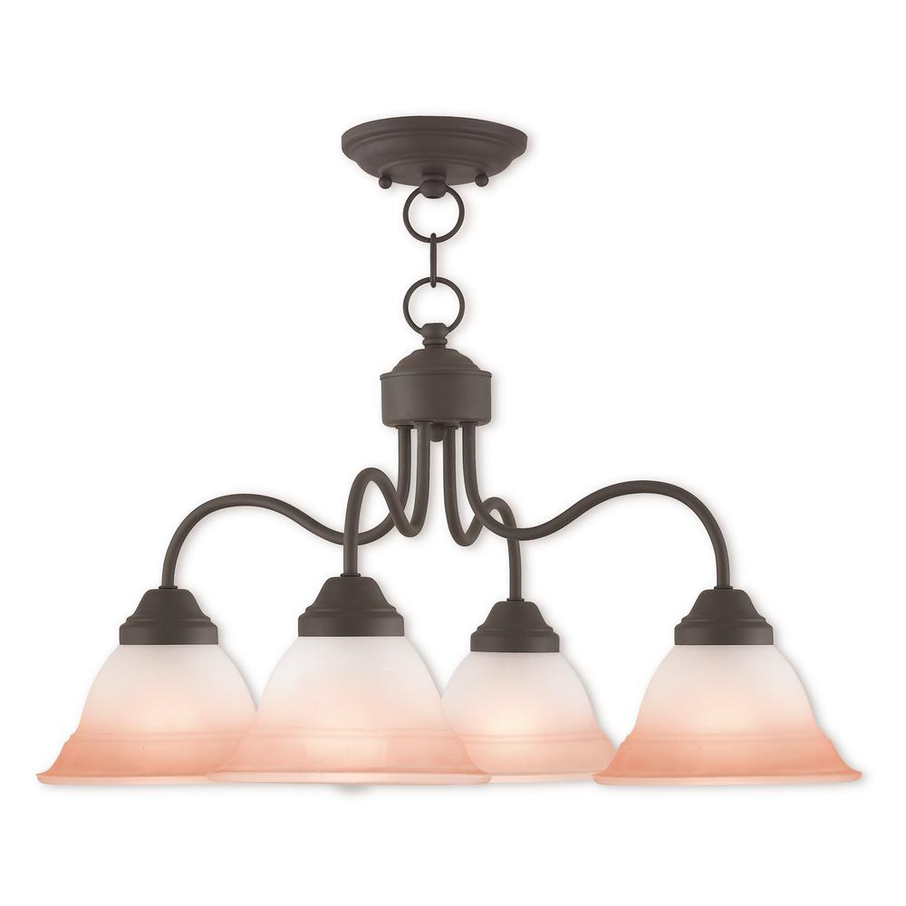 Livex Lighting Wynnewood 4-Light Bronze Convertible Chandelier with Hand Applied Sunrise Marble Glass Shade