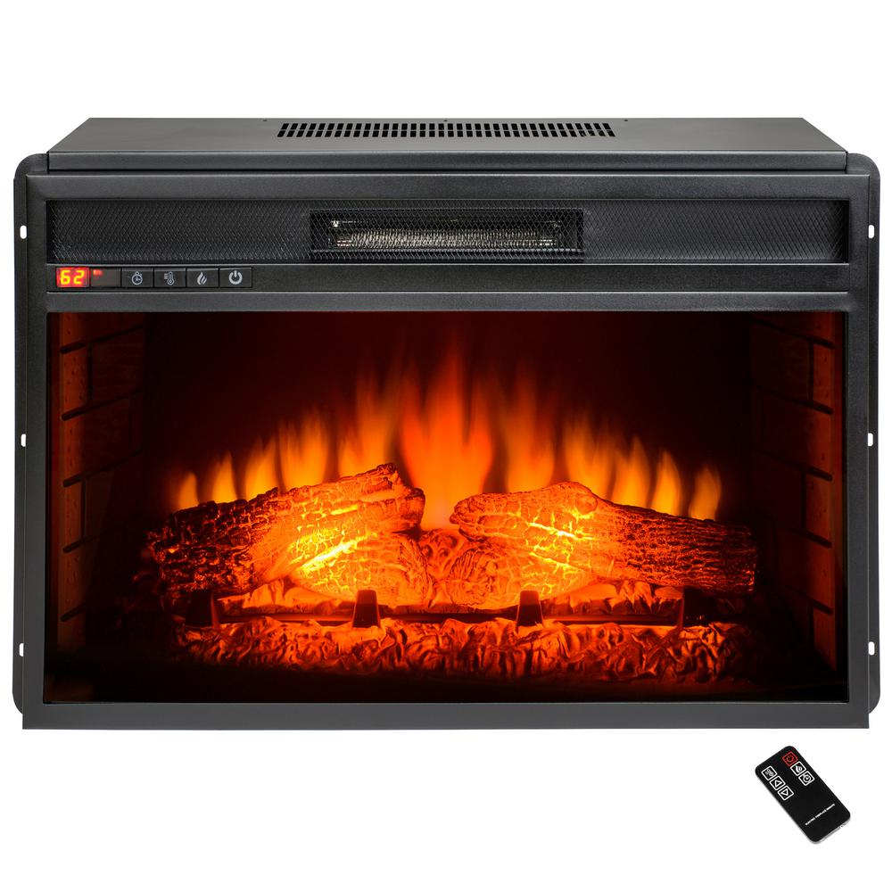AKDY Freestanding Electric Fireplace Insert Heater with Tempered Glass and Remote Control is ideal for the bedroom and living room.