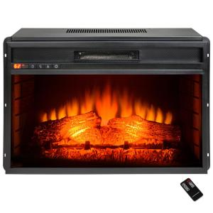 electric fireplace insert heater in black with tempered glass and remote control