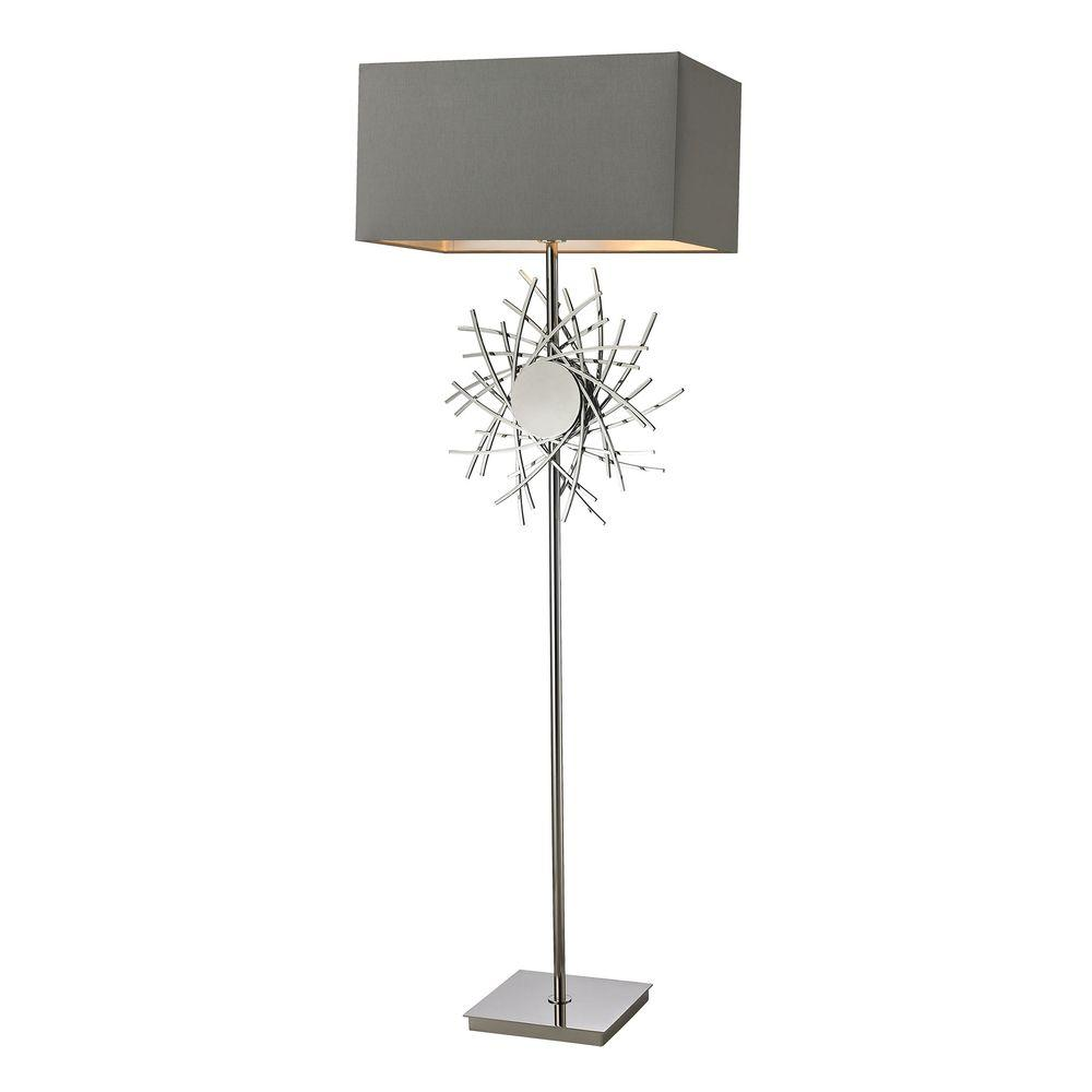 Cesano 62 in. Polished Nickel Abstract Formed Metalwork Floor Lamp