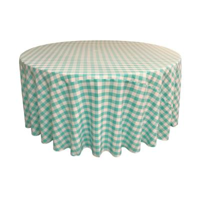 120 in. White and Mint Polyester Gingham Checkered Round Tablecloth