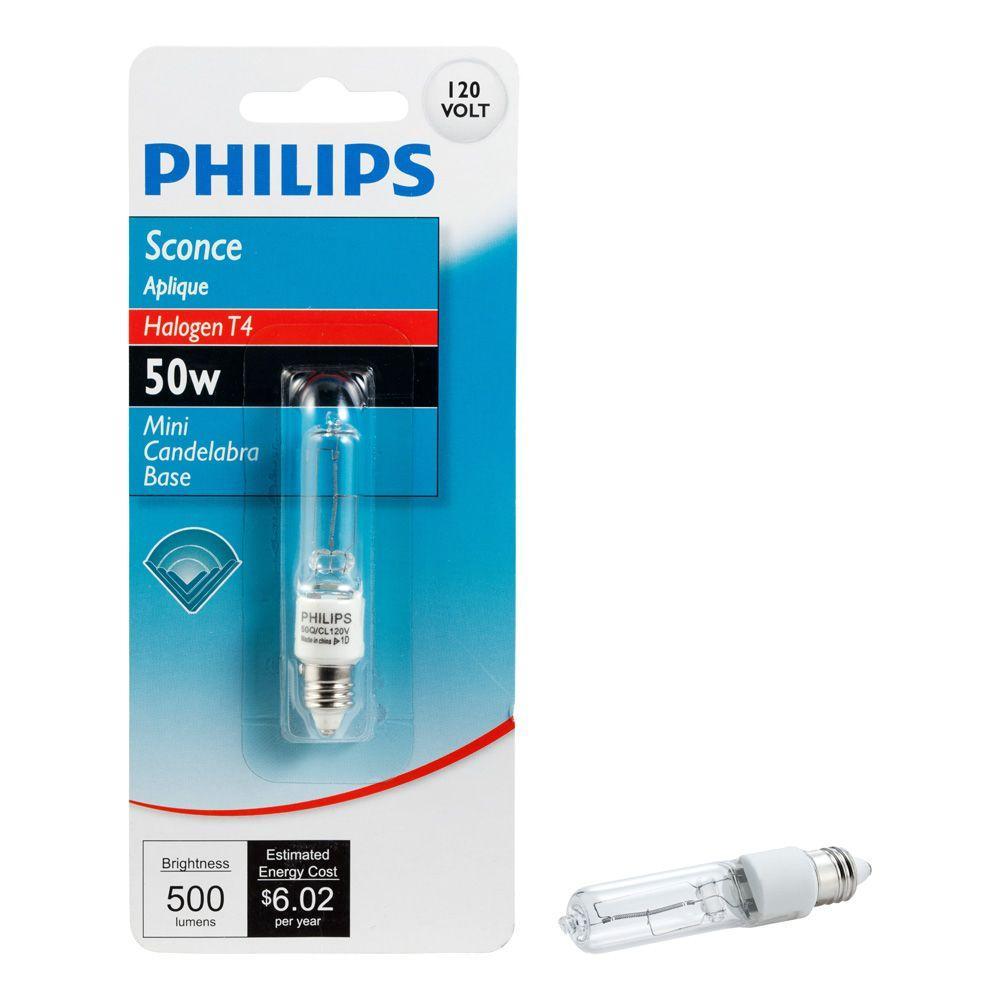 Philips 50 Watt T4 Halogen 120 Volt Mini Can Halogen
