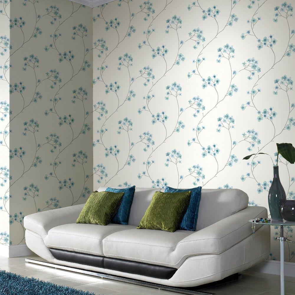 Graham brown teal and white radiance wallpaper 33 283 for Graham and brown bathroom wallpaper