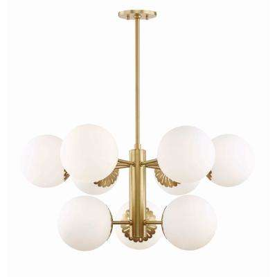 Paige 9-Light Aged Brass Chandelier with Opal Glossy Glass Shade