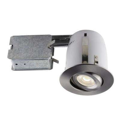 4-in. Brushed Chrome Recessed LED Lighting Kit with PAR20 Bulb Included