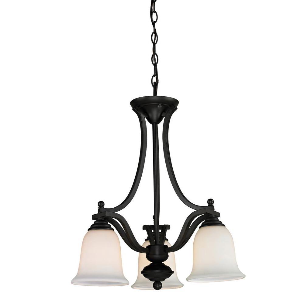 Lawrence 3-Light Matte Black Incandescent Ceiling Chandelier