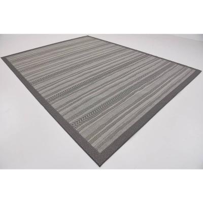 Outdoor Lines Gray 9' 0 x 12' 0 Area Rug