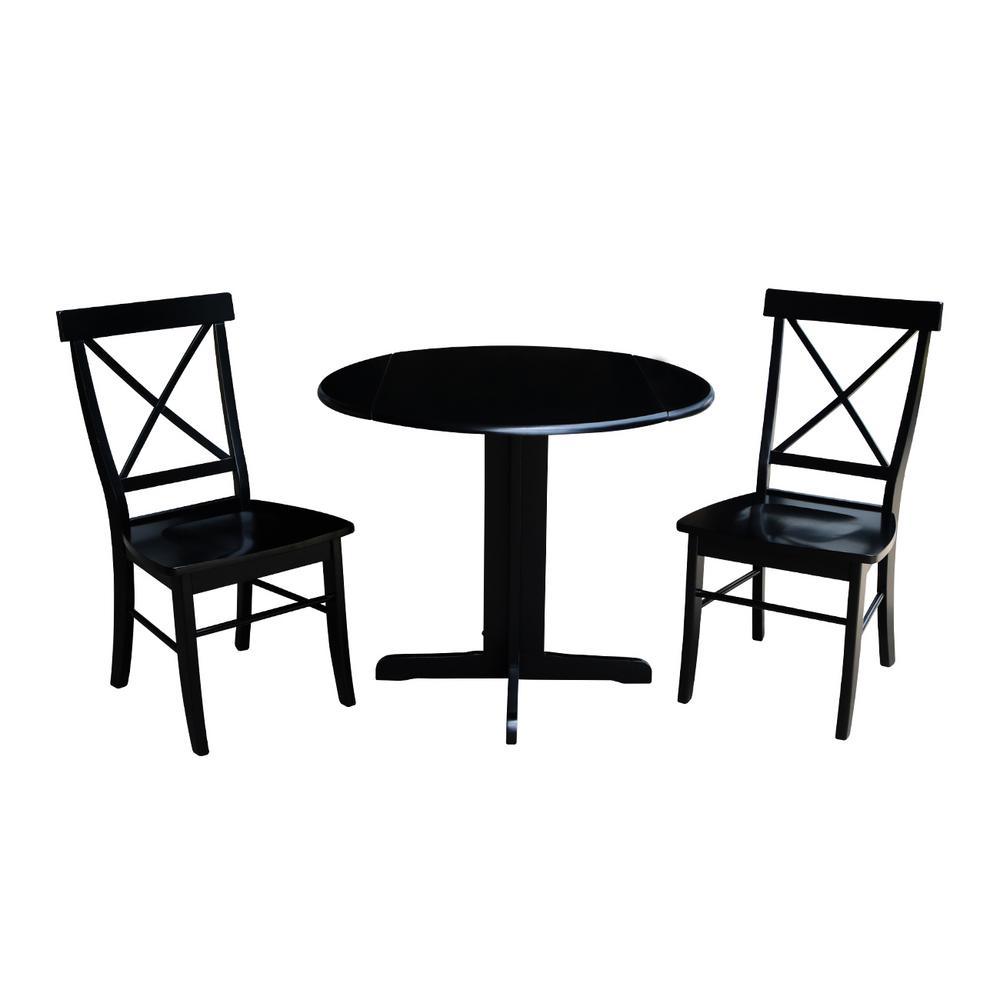 Sensational International Concepts 3 Piece 36 In Black Drop Leaf Table And Alexa Chair Set Cjindustries Chair Design For Home Cjindustriesco