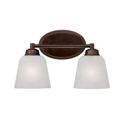 2-Light Rubbed Bronze Vanity Light with India Scavo Glass