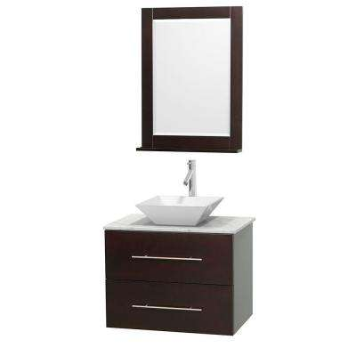 Centra 30 in. Vanity in Espresso with Marble Vanity Top in Carrara White, Porcelain Sink and 24 in. Mirror