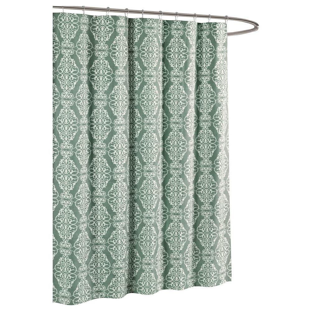 Creative Home Ideas Adisson Printed Cotton Blend 72 inch W x 72 inch L Soft Fabric Shower Curtain Harbor Grey by Creative Home Ideas