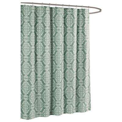 Adisson Printed Cotton Blend 72 in. W x 72 in. L Soft Fabric Shower Curtain Harbor Grey