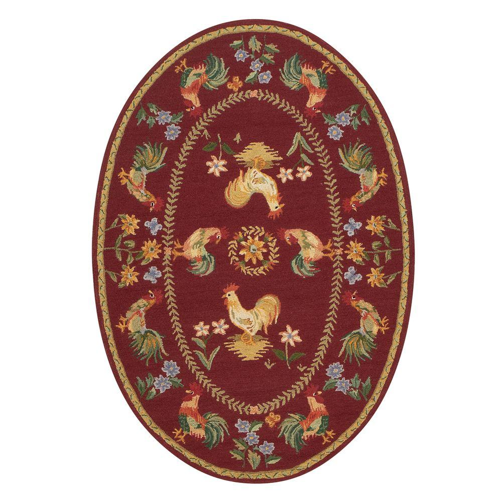 Home Decorators Collection Spring on the Farm Burgundy 4 ft. 6 in. x 6 ft. 6 in. Oval Area Rug