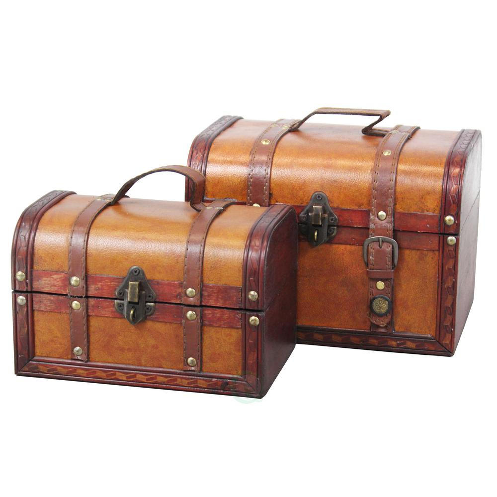 9.8 in. x 7 in. x 7 in. Wood Faux Leather Decorative Faux Leather Treasure Boxes, Set of 2 Sizes