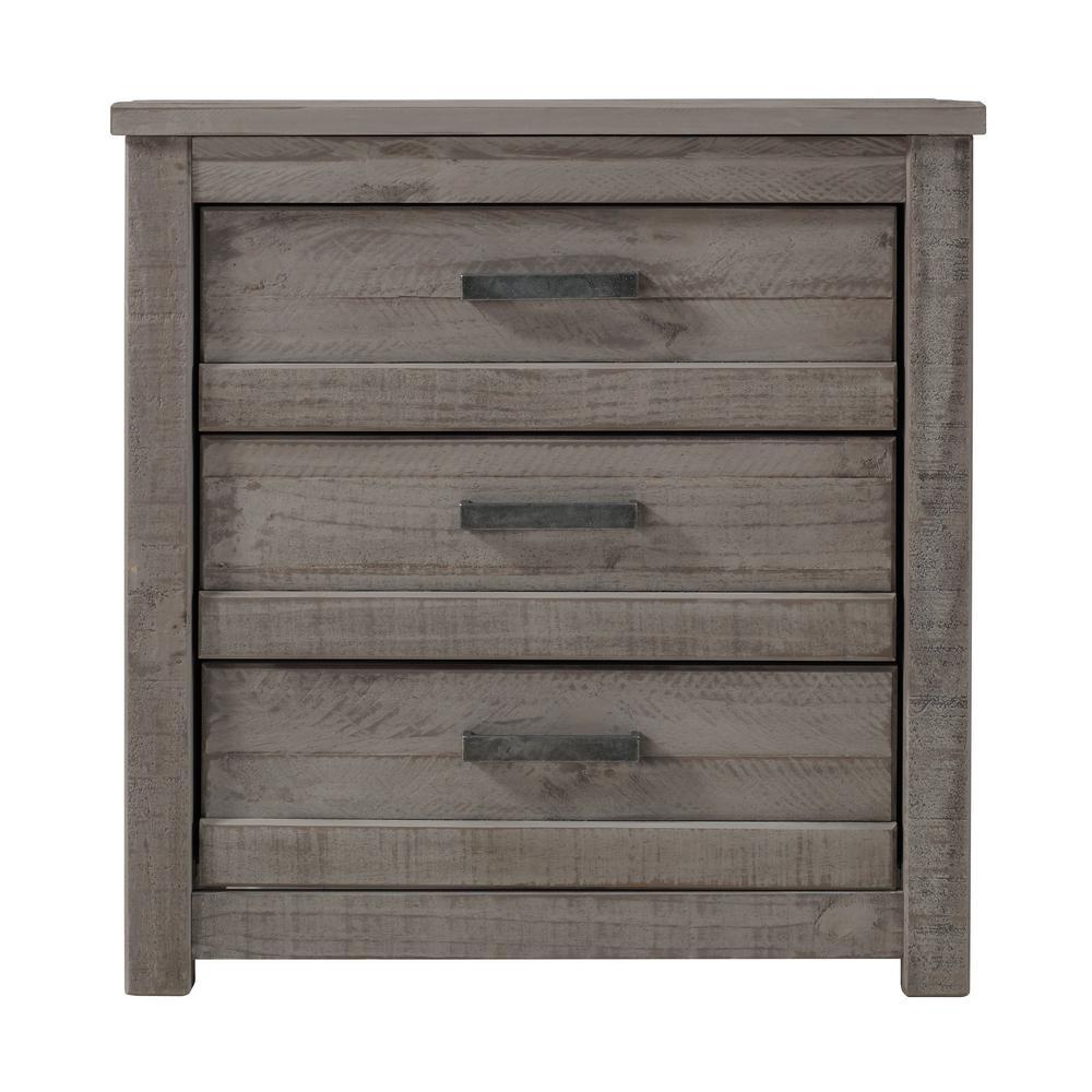 Carmel 3-Drawer Antique Grey Nightstand