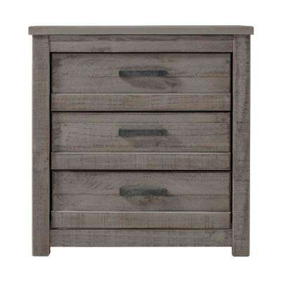 Carmel 3-Drawer Antique Grey Nightstand