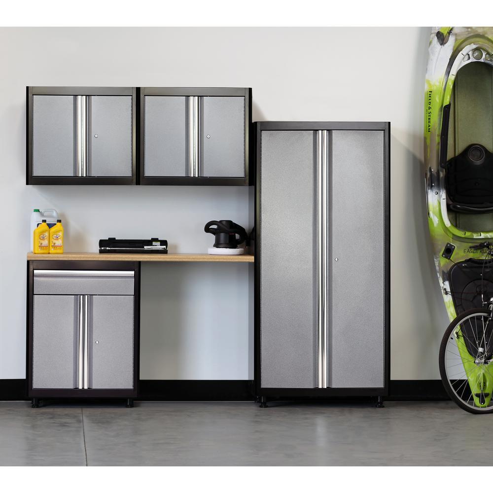 American Heritage 75 in. H x 96 in. W x 18 in. D Welded Steel Garage Cabinet Set in Black/Multi-Granite (5-Piece)