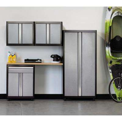 75 in. H x 96 in. W x 18 in. D Welded Steel Garage Cabinet Set in Black/Multi-Granite (5-Piece)