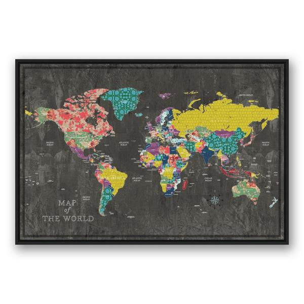 Designs Direct 32 In X 48 In Colorful World Map Printed Framed
