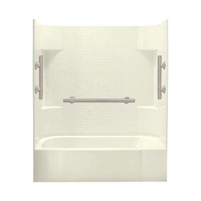 Accord 30 in. x 60 in. x 72 in. Bath and Shower Kit Left-Hand Drain in Biscuit