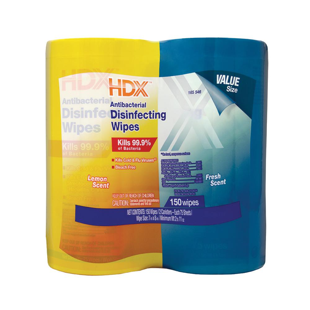 HDX 75-Count Fresh Scent and Lemon Scent Antibacterial Disinfecting Wipes (2-Pack)
