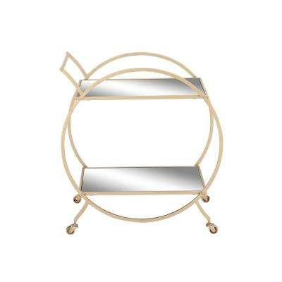 2-Tiered Iron and Glass Round-Framed Rectangular Tray Cart in Metallic Light Gold and Reflective Glass