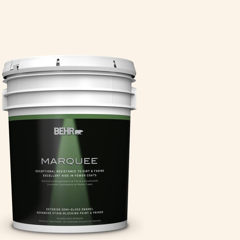 BEHR MARQUEE 5-gal. #W-D-200 Pot of Cream Semi-Gloss Enamel Exterior Paint