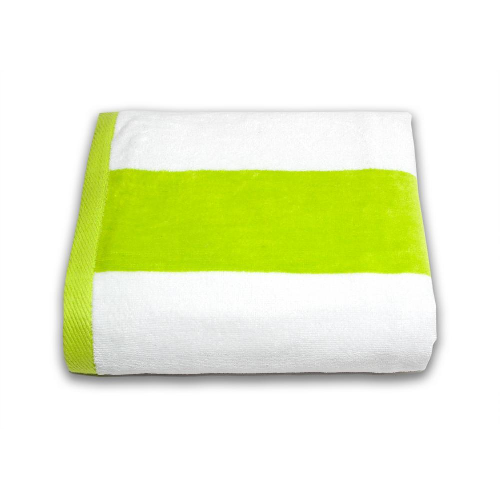 Tropical Cabana Lime Stripe Cotton Single Beach Towel