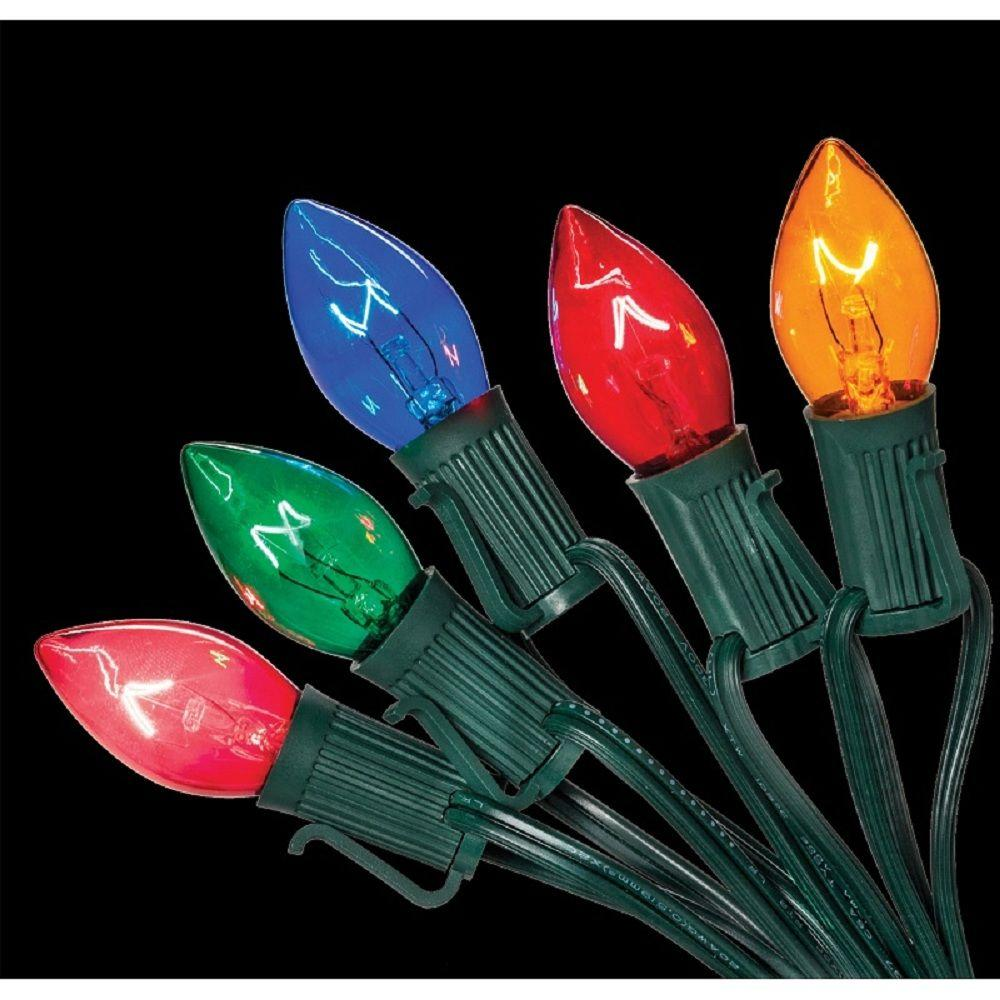 Home Accents Holiday C7 25-Light Multi-Color Incandescent Light ...