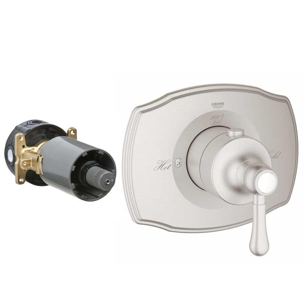 Authentic Single Handle GrohFlex Thermostatic Valve Trim Kit in Brushed Nickel