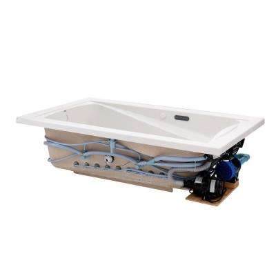 Green Tea 72 in. x 42 in. Reversible Drain EcoSilent EverClean Whirlpool and Air Bath Tub with Chromatherapy in White