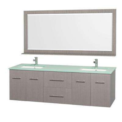 Centra 72 in. Vanity in Grey Oak with Glass Vanity Top in Aqua and Square Porcelain Under-Mounted Sinks