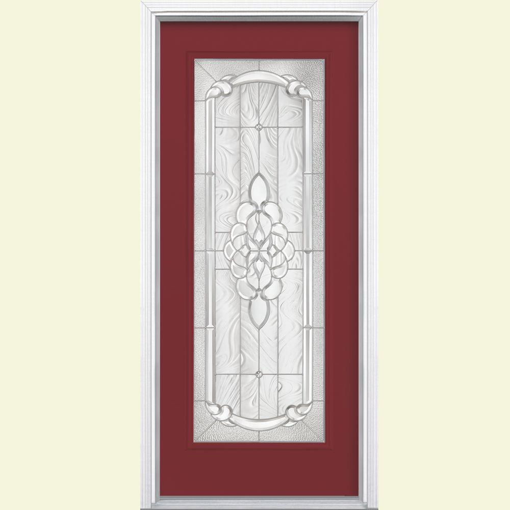 Masonite 36 in. x 80 in. Oakville Full Lite Red Bluff Right-Hand Painted Smooth Fiberglass Prehung Front Door w/ Brickmold
