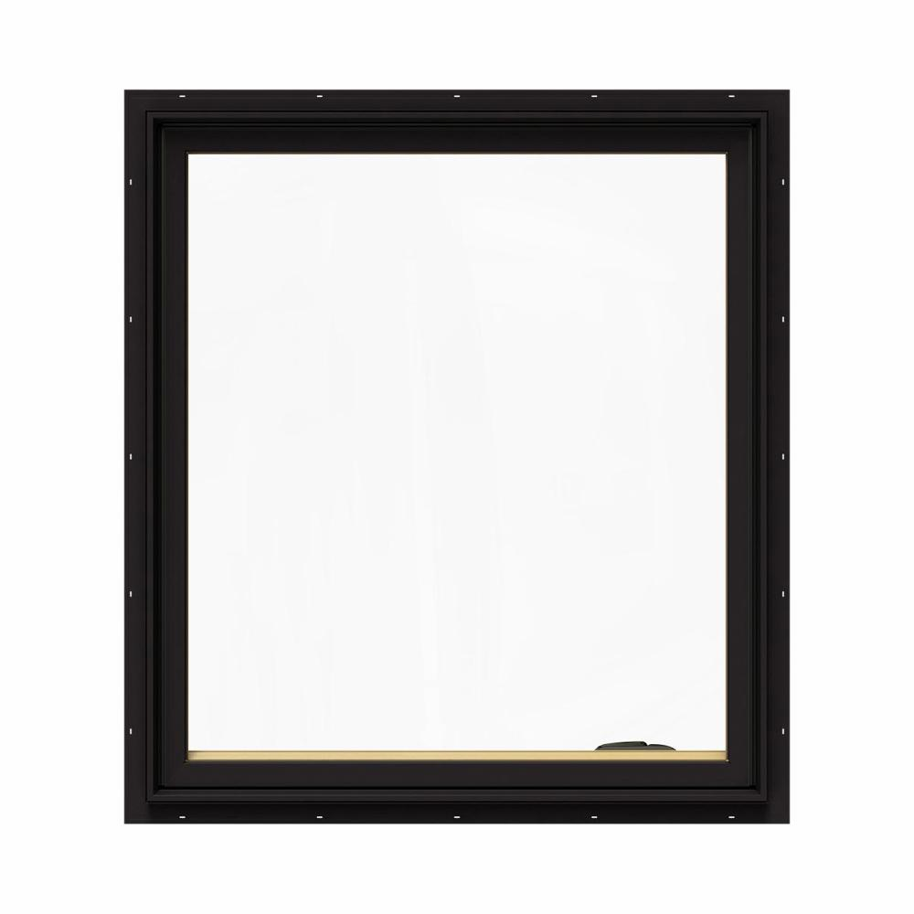 JELD-WEN 36.75 in. x 40.75 in. W-2500 Series Black Painted Clad Wood Right-Handed Casement Window with BetterVue Mesh Screen