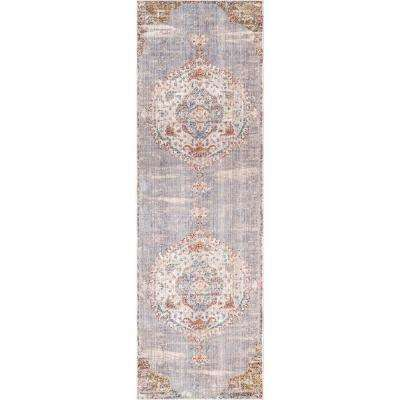 Shaunda Medallion Fringe Gray 2 ft. 6 in. x 8 ft. Runner Rug