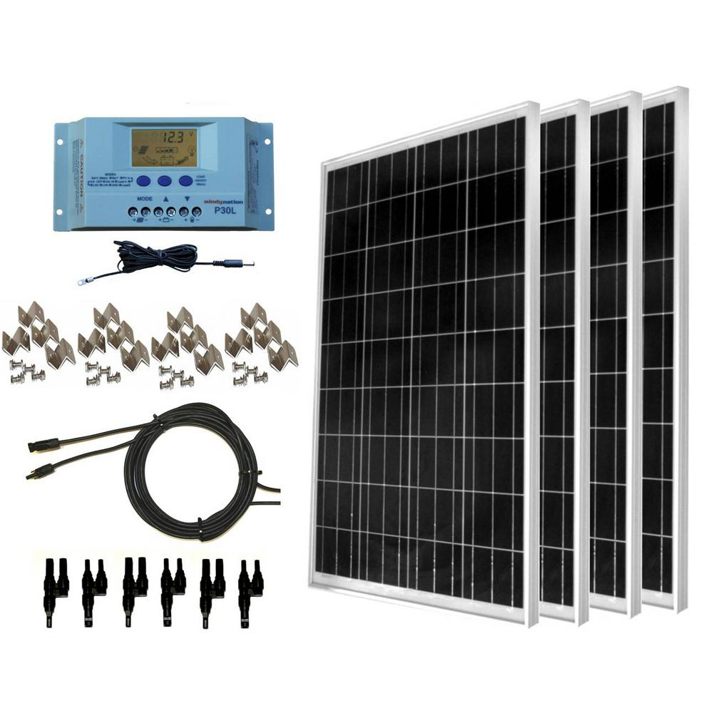 WindyNation 400-Watt Off-Grid Polycrystalline Solar Panel Kit with LCD  Charge Controller