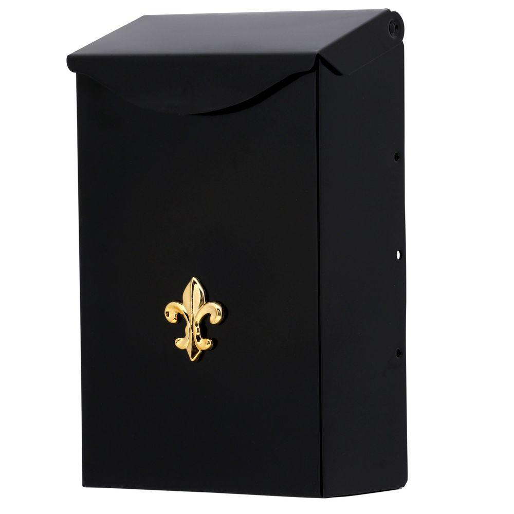 City Classic Black Steel Vertical Wall-Mount Mailbox