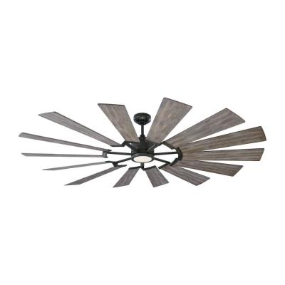 Prairie 72 in. LED Indoor/Outdoor Aged Pewter Ceiling Fan with Light Kit and Light Grey Weathered Oak Blades and Remote