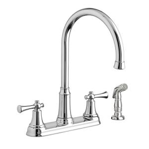 portsmouth 2handle standard kitchen faucet with side sprayer in polished chrome