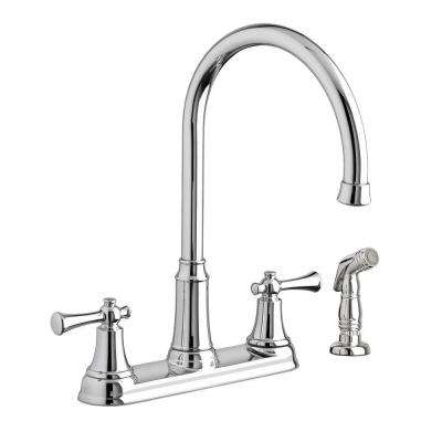 Portsmouth 2-Handle Standard Kitchen Faucet with Side Sprayer in Polished Chrome