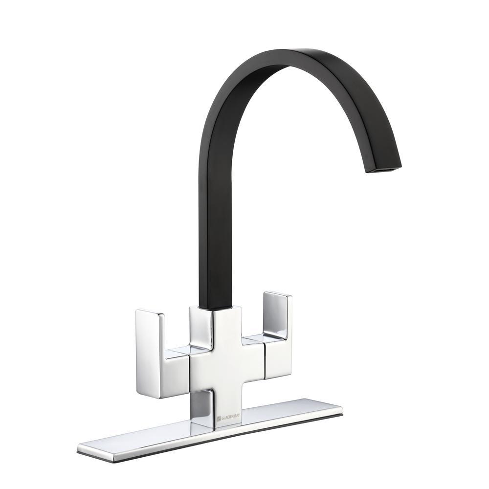 Glacier Bay Farrington Contemporary 2-Handle High-Arc Standard Kitchen Faucet in Dual Chrome and Matte Black