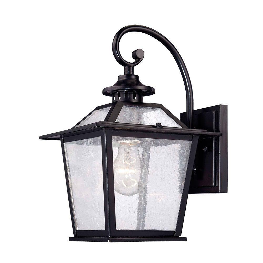 Salem Collection 1-Light Matte Black Outdoor Wall Lantern Sconce