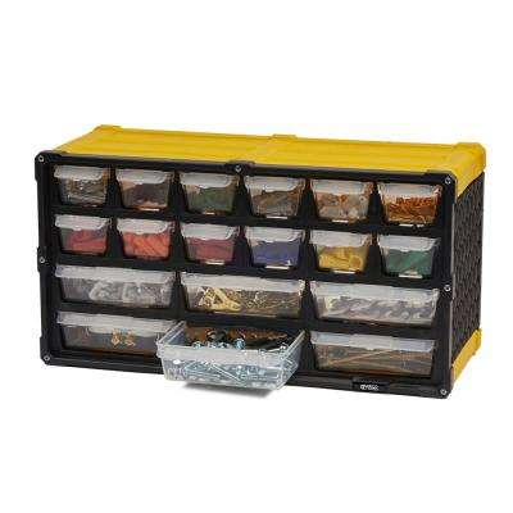 18-Compartment Small Parts Organizer, Yellow